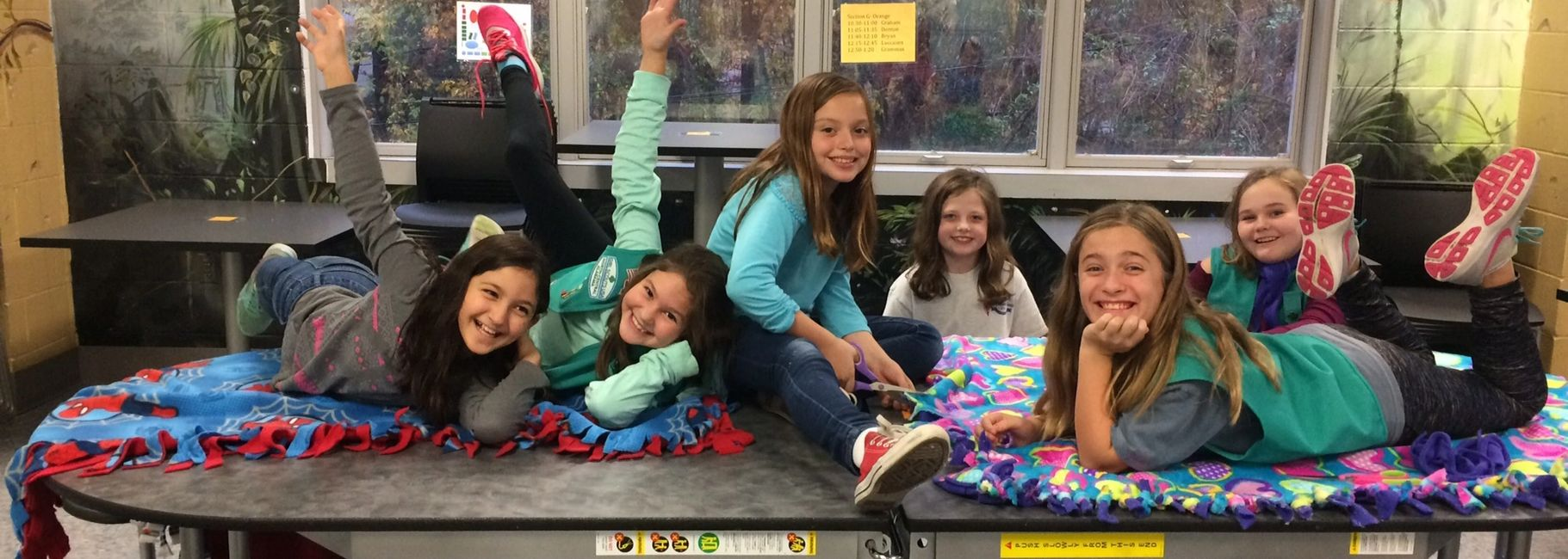 Troop 172 made blankets for the Linus Project.