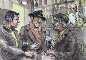 Jim McDonald painting of men in a pub with Guinness