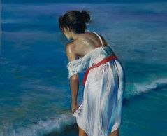 soft pastel painting girl at ocean