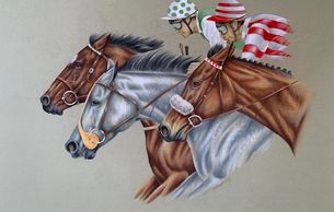 Original painting by Eric Heasley of Race Horses