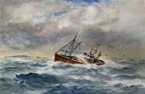 William Hume watercolour painting of a fishing boat