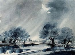 Moody blue watercolour landscape by Ron Ranson