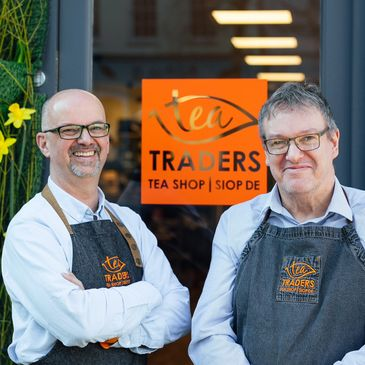 Business owners Paul Raven & Nick Lee pictured outside Tea Traders Tea Shop