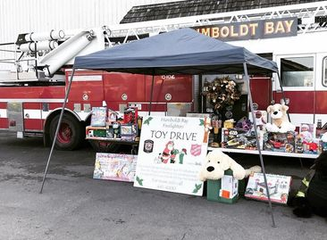 Humboldt Bay Fire Department pictured with their annual Toy Drive.
