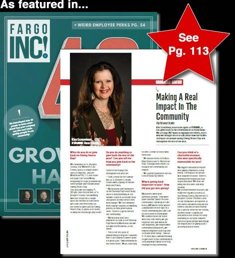 Read the article featuring Kim on page 113 of the January edition of FARGO INC! Magazine.