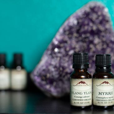 essential oils, amythest, ylang ylang and myrhh