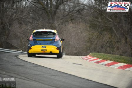 Fritz Wilke in the Fritz Wilke Racing #84 B-Spec Ford Fiesta testing at Waterford Hills in Waterford, Michigan in 2017.