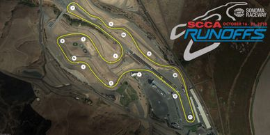 The track map from the 2018 SCCA Runoffs at Sonoma Raceway in Sonoma California.