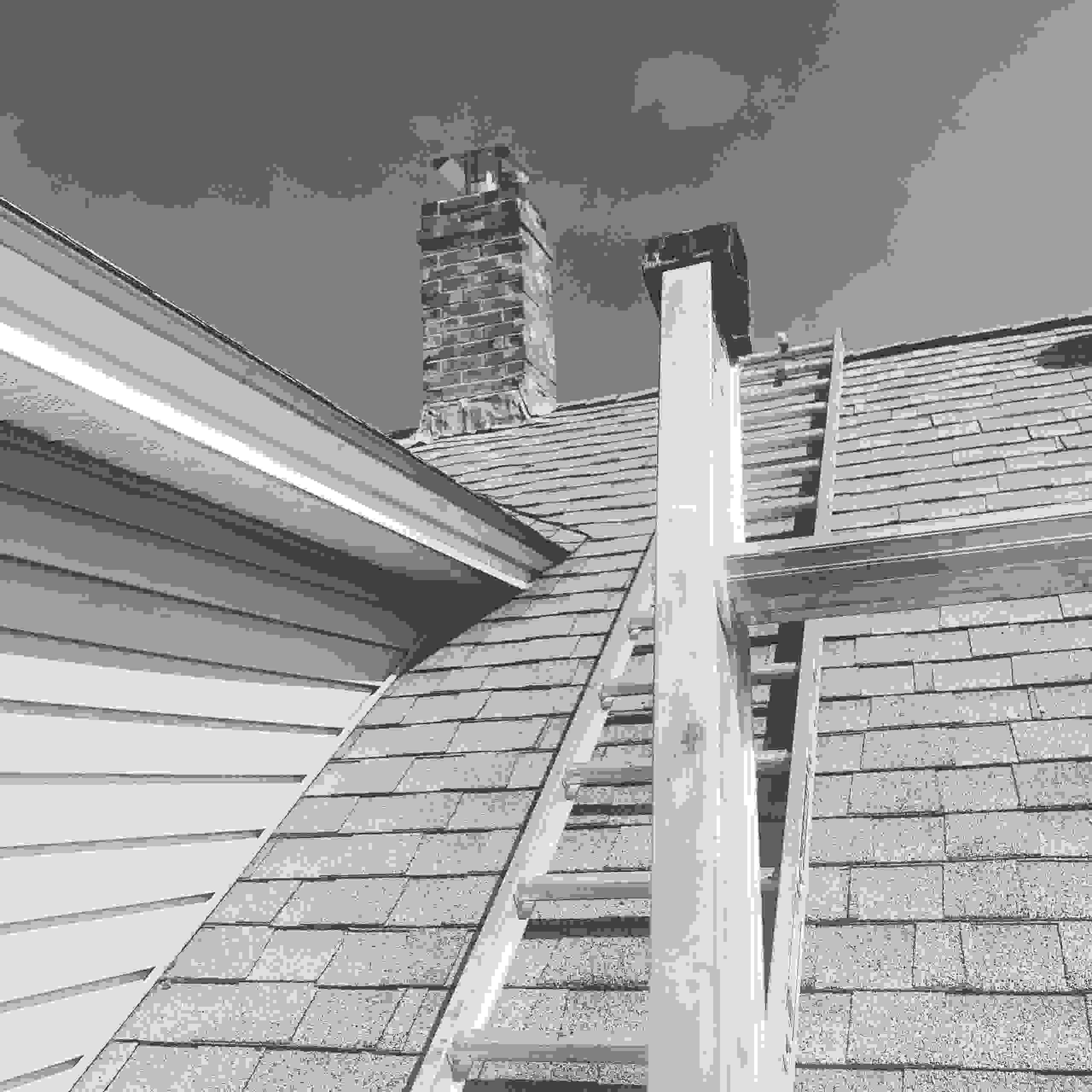 A black and white photo Anything Chimney took Before a Chimney Cleaning in NH.