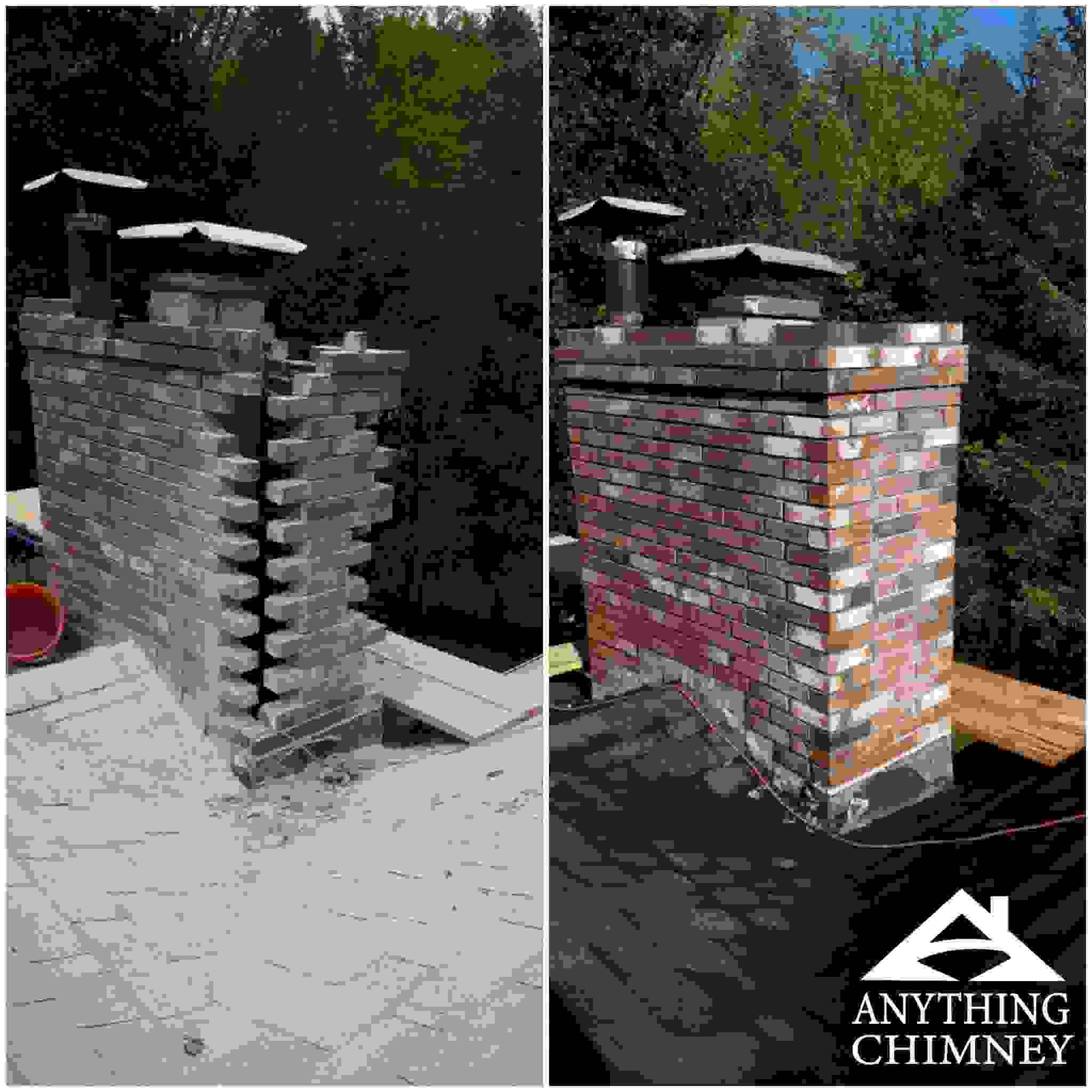 A before and after repair of a Manchester NH chimney repair.