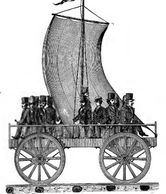 Sailing Car as it appeared with a party of excursionists on the South Carolina Railroad in 1830.