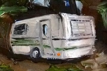 small painting of a camper done on a playing card by E. Kearsley