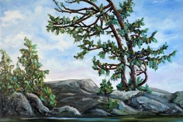 Northern landscape with pine tree paitnig by Darlene Winfiield