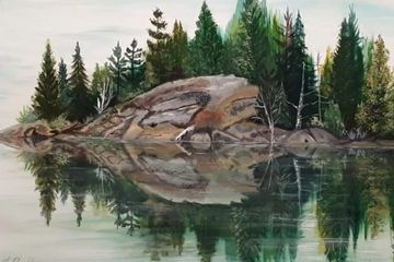 landscape with rocks and water by Luann Coglhan