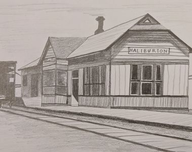 Drawing of Rails End Gallery by Jessica Byers.