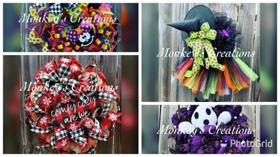 Halloween and Winter wreaths by Monkey's Creations.