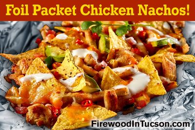 Yum! Delicious nachos cooked over  a wood fire! Easy and so good.