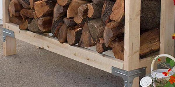Firewood rack using simple connectors, storing firewood, stacking firewood, safety, wood fire