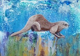 Picture of Otter.  Acrylic painting using an abstract acrylic flow technique for the background