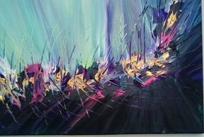 Abstract acrylic painting using a pallet knife