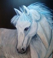 Lunar - White Horse painted using an abstract approach