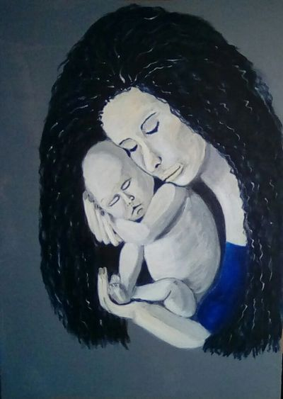 Mother and Child Acrylic painting in memory of my Mum. She was beautiful.