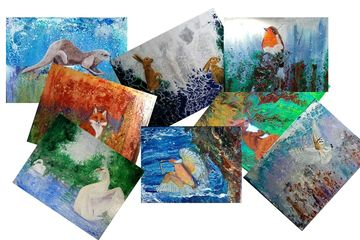 Mixed set of greetings cards featuring images from original paintings