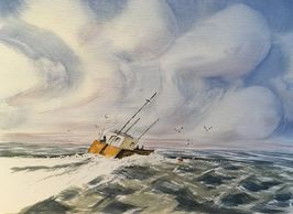 Watercolour painting of a seascape.  Sailing boat