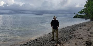 Geoffrey Wawro on White Beach, 75 years after Battle of Peleliu, Sept. 1944.