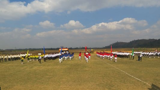 House Wise Assembly during the inauguration of Annual Sports Meet.