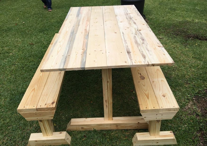wooden tables, benches, picnic