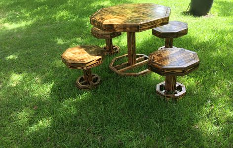 burned, finished table set