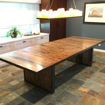 Dining table reclaimed ship wood