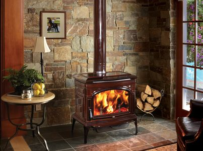 Lopi Cape Cod Wood Stove, Featuring a Brown Enamel coating.  EPA 2020 compliant.