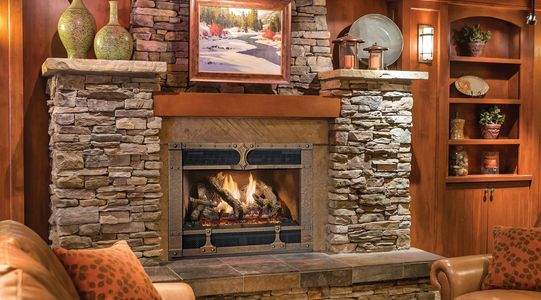 Fireplace Xtrordinair 864 40K Direct Vent Gas Fireplace, featuring the beautiful hand crafted Timber