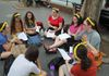 Israeli and American teens on Dr Beth Samuels High School Program, engaging in text study