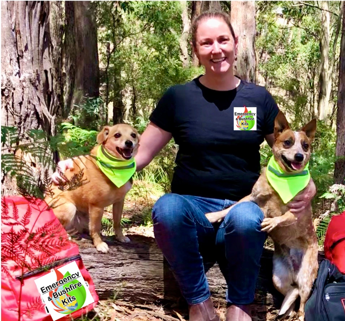 CEO and Owner of Emergency & Bushfire Kits, with Schnitzel and April EmergencyBK Super Dogs
