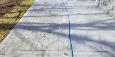 Before and after cleaning picture of vinyl decking