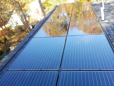 Solar panels sparkle after cleaning.