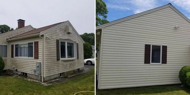 Vinyl siding before and after cleaning