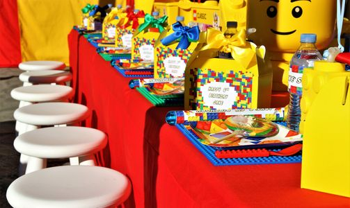 Lego Party Table setting by Pop the Balloon! Children's Parties & Events