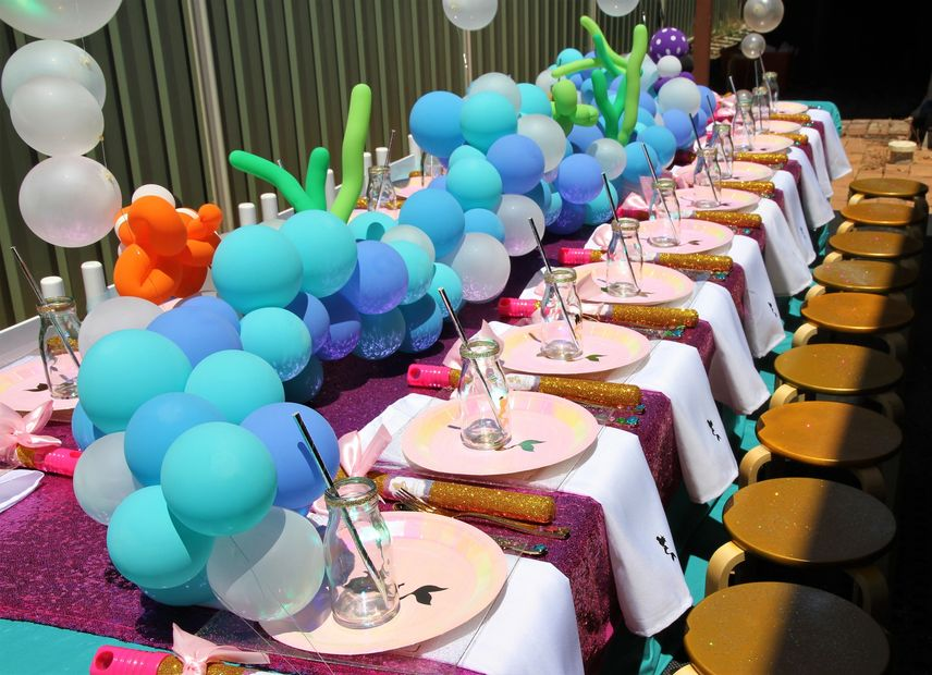 Mermaid kids party table by Pop the Balloon! Children's Parties & Events