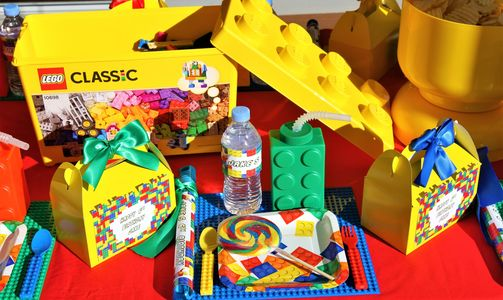 Lego party children's party table styling by Pop the Balloon! Children's Parties & Events