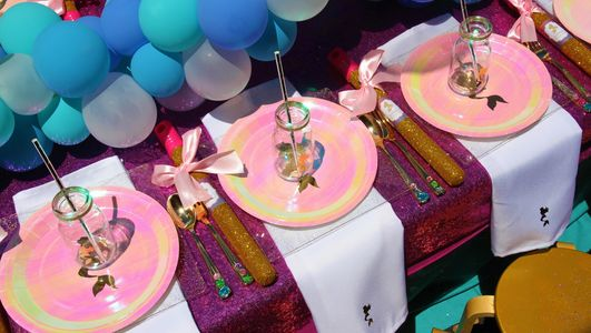 Mermaid kids party table setting by Pop the Balloon! Children's Parties & Events