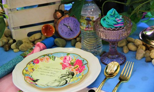 Mad Hatter's Tea Party table setting by Pop the Balloon! Children's Parties & Events