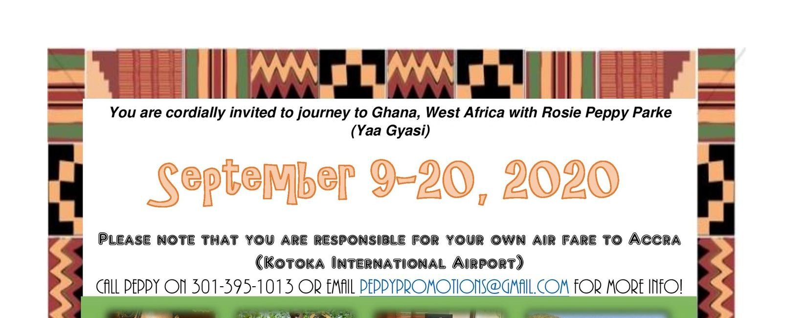 Journey to Ghana from September 9-20, 2020 with Rosie Peppy Parke and The Give Black Foundation.