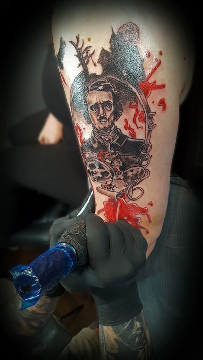 Edgar Allan Poe trash polka tattoo by Inkslinger Erick