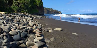 Pololu black sand beach, Hawaii