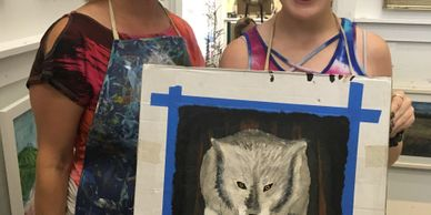 Nicki Hildebrand (left) and student posing with a work in progress.