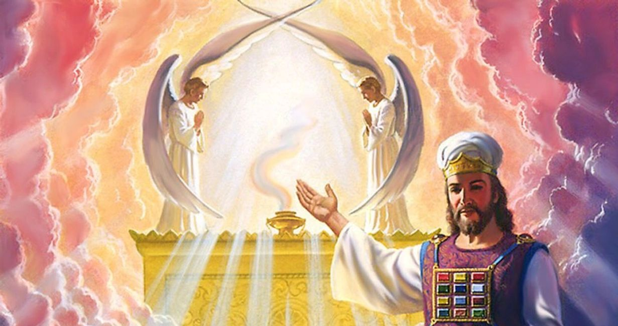 Heavenly Ark of Covenant with live Cherubim and High Priest Jesus.